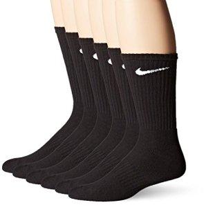Nike Chaussettes Crew (6) Coussins Coton Performance Pack Black Mens Grande Taille de Chaussure 8-12