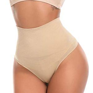 SLIMBELLE String Gainant Tanga Ventre Plat Taille Moyenne Panty Minceur Culotte Sculptante Shapewear Thong Amincissante Gaine Invisible-M