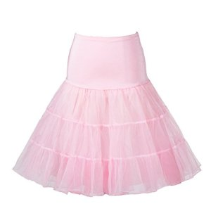 Boolavard 1950 26″ Rockabilly Jupon Jupon Retro Vintage Petticoat Tutu TM (L-XL (42-50), Rose)