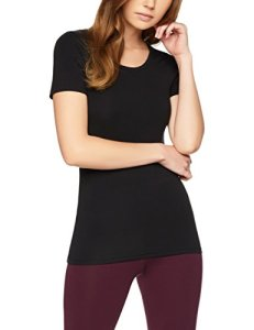 Iris & Lilly T-Shirt Justaucorps Thermique Femme, Noir (Black), 36 (Taille fabricant: X-Small)
