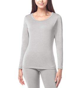LAPASA Haut Thermique Femme sous-vêtement Maillot de Corps Doublure Laine Polaire Manches Longues Fin et Chaud L15 (11. Gris Clair (Fin/Droit), 40/L)