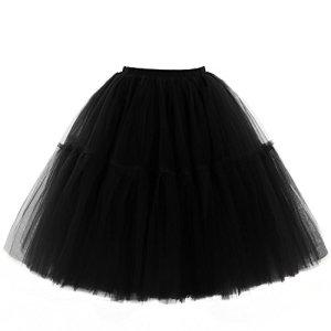 Babyonlinedress Femme Rétro style année 50 vintage en Tulle Elastique Audrey Hepburn Rockabilly Petticoat Tutu-18 Couleurs Noir