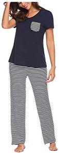 Chunjiao Pyjamas d'été, la Mode d'été des Femmes est Deux pièces Pyjama Grande Taille Loisirs Pyjama Accueil Vêtements, Marine à Manches Courtes à Rayures Pyjama, L Pyjamas d'été Mode