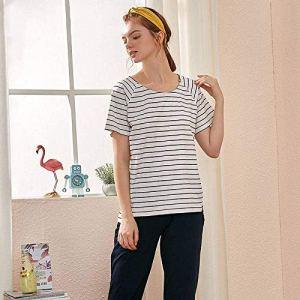 Chunjiao Pyjamas d'été, la mode d'été Femmes'S deux pièces à manches courtes Pyjama Survêtement Stripes grande taille peut être porté à l'extérieur Loisirs Pyjama Accueil Vêtements, M Pyjamas d'été mo