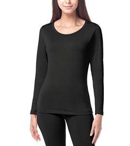 LAPASA Haut Thermique Femme sous-vêtement Maillot de Corps Doublure Laine Polaire Manches Longues Fin et Chaud L15 (10. Noir (Fin/Droit), 38/M)