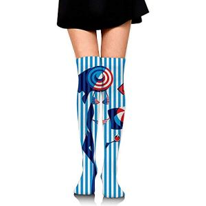 NotApplicable Chaussettes Athlétiques Drôle Chat Mode Chaussettes Longues Boot Stocking Party Femmes Chaussettes De Compression Cosplay Running Genou Chaussettes Hautes Robe Confortable Casual
