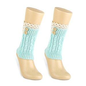 TININNA Bas Guêtre Jambières Legging Chaussettes Boot Cover en Laine Dentelle Boot Topper Cuff Tricotées Cuissard avec Bouton Verte