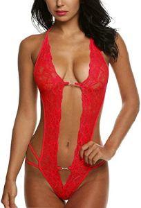 UMIPUBO Lingerie Dentelle Femme Sexy Pyjama Siamois Dos Ouvert sous-Vêtements Poitrine Basse Vêtements de Nuit Body Nuisette Impression Lingerie De Nuit (Rouge)
