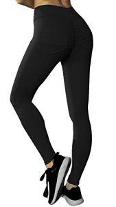 Uniquestyle Pantalon Bodybuilding Femme Leggings Sport Grande Taille Pantalon Sudation Yoga Coton Taille Haute Pants Bodybuilding Noir XL