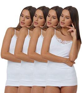 VCA – Lot de 4 caracos – 100 % coton – bretelles spaghetti – dentelle – certifié Oeko-Tex Standard 100 – femme – taille 36/38