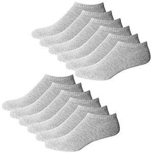 YouShow Chaussettes de Basket Hommes Femmes 10 Paires Chaussettes mi Chaussettes Courtes Coton Unisexe OEKO-TEX Standard 100(Gris,39-42 EU)
