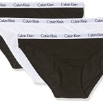 Calvin Klein underwear – CAROUSEL – 3PK BIKINI – Slips Femme, Multicolore (BLACK/WHITE/BLACK WZB), 34 (Taille fabricant: XS)