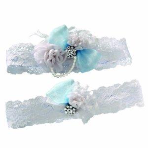 Ivy Lane Design Vintage Quelque Chose de Bleu de mariée Jarretière Ensemble, Blanc, Taille L