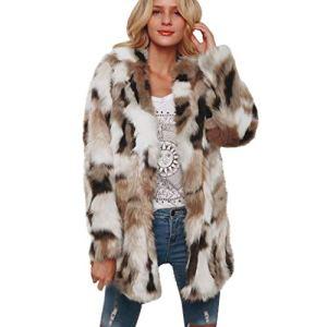 Femmes Manteaux Et Blousons Casual ÉPaisse Fausse Fourrure en Plein Air Trench-Coat Hiver Chaud Long Veste Parka Manteau Surdimensionné