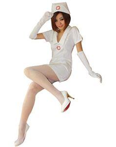 N/A Costumes D'infirmière Coquine Rouge Et Blanc, Bas, Accessoires D'écoute, Maison d'amant, Fête, Fête d'anniversaire
