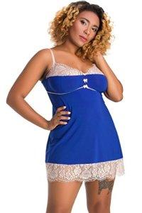 Nine X – Jolie nuisette L-7XL, chemise de nuit Plus La Taille Blue 2XL