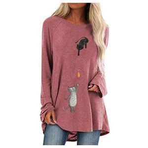 Qikoup Femmes T-Shirt Dames Plus La Taille Élégante Deux Chat Imprimer Col Rond Tops À Manches Longues Lâche Longues Blouses Pull Chemise Sweat