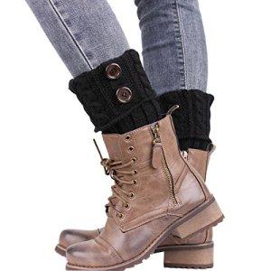 TININNA Bas Guêtre Jambières Legging Chausettes Femme Hiver Chaud Tressé Tricot Bouton Cuissard Noir