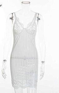 CHENTAOCS Dentelle Nightgown Femmes de Nuit Pyjama été Négligée Babydoll Lingerie de Nuit Peignoir Femme Chemise de Nuit (Couleur : Blanc, Taille : S)