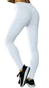 Uniquestyle Legging Femme Pantalon de Sport avec Poches Yoga Fitness Gym Pilates Taille Haute Gaine Large Pantalon Anti Cellulite Femme Blanc L