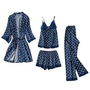 Femmes Pyjama En Soie Satiné Cardigan Chemise De Nuit Peignoir Robes Sous-VêTements VêTements Sexy Lingerie Nues Dentelle Legging Pijamas Body Pas Cher Grande Taille Pantalon D'éTé à Pois