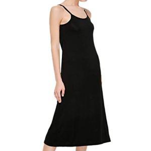Frecoccialo Robe de Maison Femme Coton à Bretelles Spaghetti Fond de Robe Classique Taille Grande (Noir(100 cm), XXL)