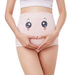 KSWX sous-vêtements de maternité Maman Coton Mme Abdomen réglable Mignon Dessin animé Expression Femmes Enceintes sous-vêtements 3 pièces,Pink,M