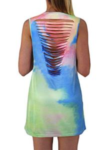 LOSRLY Robe courte sans manches pour femme – Multicolore – 46-48