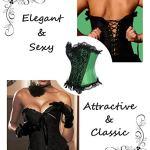 MISS MOLY Femme Dentelle Corset Sexy Gothique Lingerie Overbust Bustier Grande Taille avec G-String ,Vert/Noir,3XL