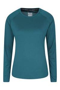 Mountain Warehouse T-Shirt d'été Endurance pour Femme – Léger – Longues Manches – Séchage Rapide – Protection UV – pour Voyages, Course à Pied et Quotidien Vert foncé 34