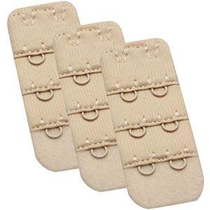 Wingslove Femme 3 pièces Rallonges Extensions pour Soutien Gorge Extensseurs (Beige*3, 2 Crochets 3/8 inch)