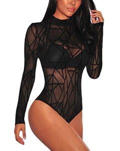 GUOCU Femmes Bodysuit Jumpsuit Combinaisons Manches Longue Transparent Bodycon Nuisette Bodys Party Justaucorps Corset Clubwear Noir M