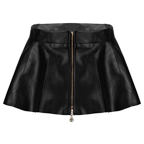 IEFIEL Femme Mini Jupe Plissée Soirée Fête PU Cuir Sexy Lingerie Moulante Erotique Taille Haute Fermeture Eclair Costume de Nuit Clubwear S-L Noir S