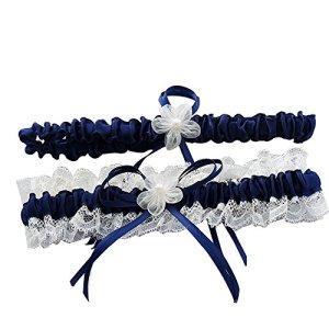 Awtlife Bleu roi Mariage porte-jarretelles en dentelle avec Toss Away Fleur Décor