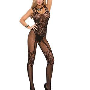 Romacci Femme Sexy Combinaison De Lingerie Dentelle Vêtement De Nuit Babydoll Coquine Noir/Blanc