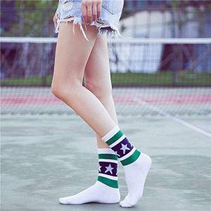 5 Paires/Pack Chaussettes en Coton À La Mode pour Femme Étoiles Rayées Style Écolière Colorée Chaussettes Décontractées pour FemmesBlanc Vert