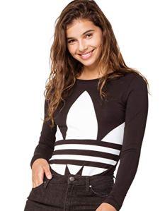 adidas Originals Women's Large Logo Bodysuit, Black/White, XL