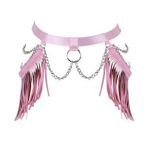 BBOHSS Femmes Harnais de Corps Punk Porte-Jarretelles élastique chaîne en métal Gland en Cuir Gothique Carnaval Danse Accessoires de Costume (Rose)