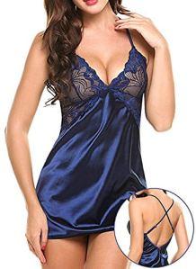 Costumes sexy femme Lingerie sexy femme Femme Sexy Lingerie Érotique Chaude Léopard Imprimé Dentelle Robe De Nuit Lingerie Col En V Nightgrown Vêtements De Nuit pijama Cosplay Babydoll-blue_S