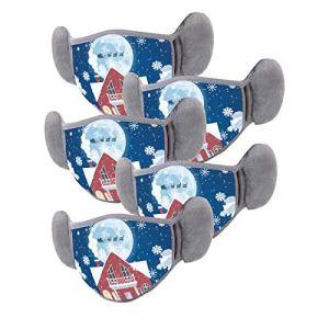 DOLLAYOU 5PC Écharpe chaude extérieure lavable et réutilisable imprimée de Noël adulte (M)