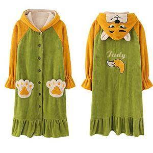 GAOFANG Chemise de Nuit Longue Femme, Unisexe Couple Pyjama, Kimono Maternité Vêtements Peignoir, Robe de Chambre Polaire Bathrobe,Vert,XXL
