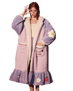 GAOFANG Mode Femme Peignoir Style Doux, Manteau Polaire Chaud Col Roulé Tops Chapeau Mode Grande Taille Hiver,Violet,XL