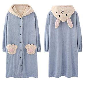 GAOFANG Unisexe Couple Femmes Molleton Robe, de Chambre Peignoir Hooded Costume Manteau de Bain,Gris,XXL