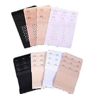 Gywantt Lot de 8 extensions de soutien-gorge extensibles à 3 crochets pour femme Noir/blanc/beige/couleur de la peau