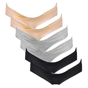 Intimate Portal Femme Slips Brésiliens de Maternité Culottes de Grossesse sous-vêtements en Coton 6 Lot Noir Gris Beige L