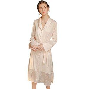JYCDD Robe De Nuit Femme Pyjama Sexy Longue Robe De Chambre Mariage Fée Princesse Vent Chemise De Nuit Manches Longues Vêtements De Maison Décontractés,Rose,S