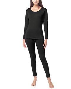 LAPASA Ensemble de sous-vêtement Thermique Femme Doublure Laine Polaire Chaud Épais Haut Bas L41/L44 – L41: Noir (Épais Intermédiaire) – 36/S