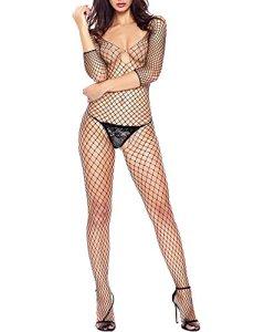 Romacci Femme Sexy Combinaison De Lingerie Dentelle Vêtement De Nuit Babydoll Coquine Noir/Blanc (noir 2)