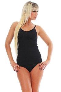 Top pour femme sexy avec dentelle et bretelles réglables-bH-chemise de celesté 100% coton noir, tailles 38–50 – Noir – 50