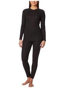 Ultrasport Thermal Underwear Ensemble Haut/Bas de compression thermique, Femme – Noir – X-Small